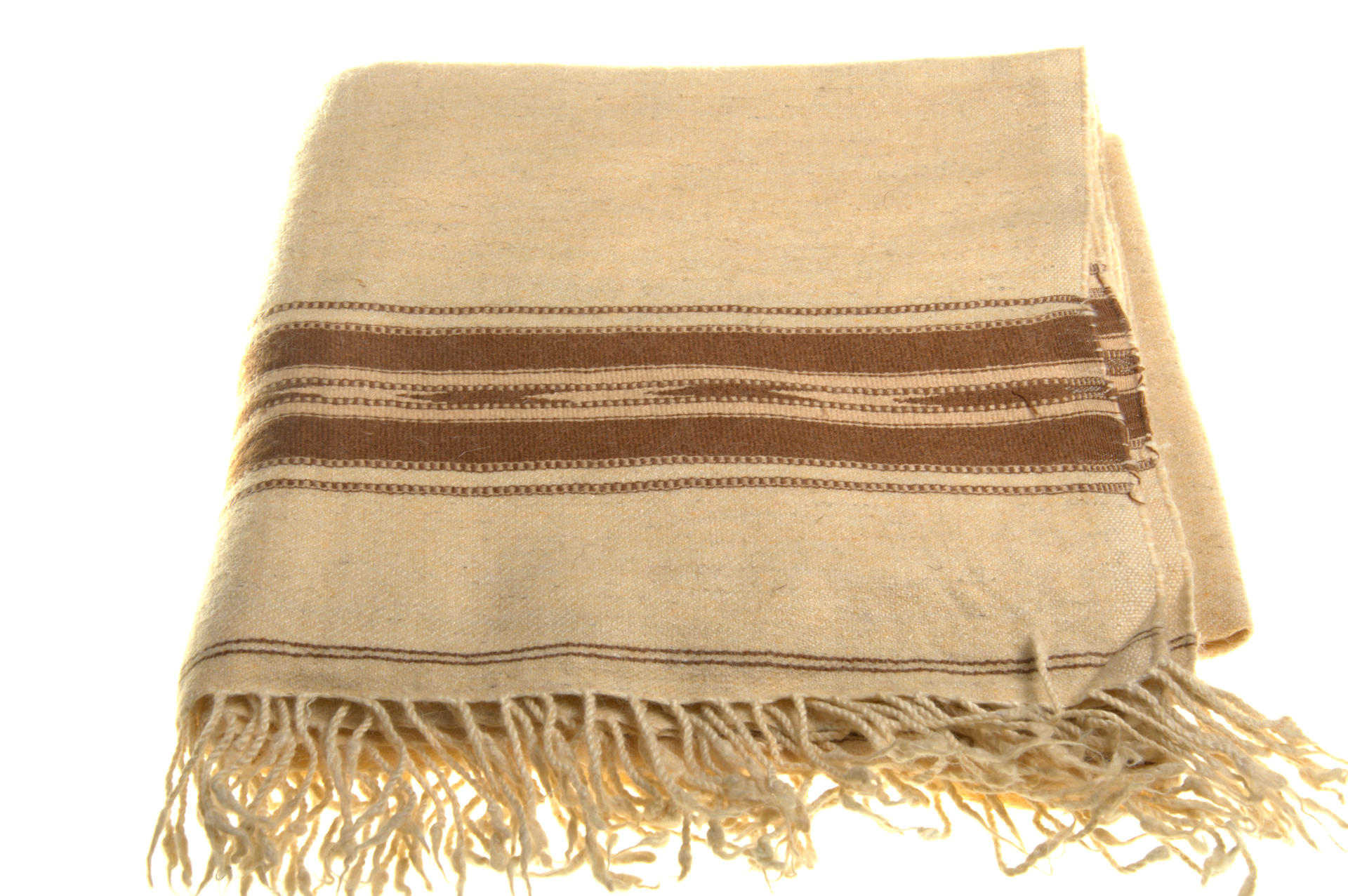 Beige colour handwoven woolen plaid from Swat