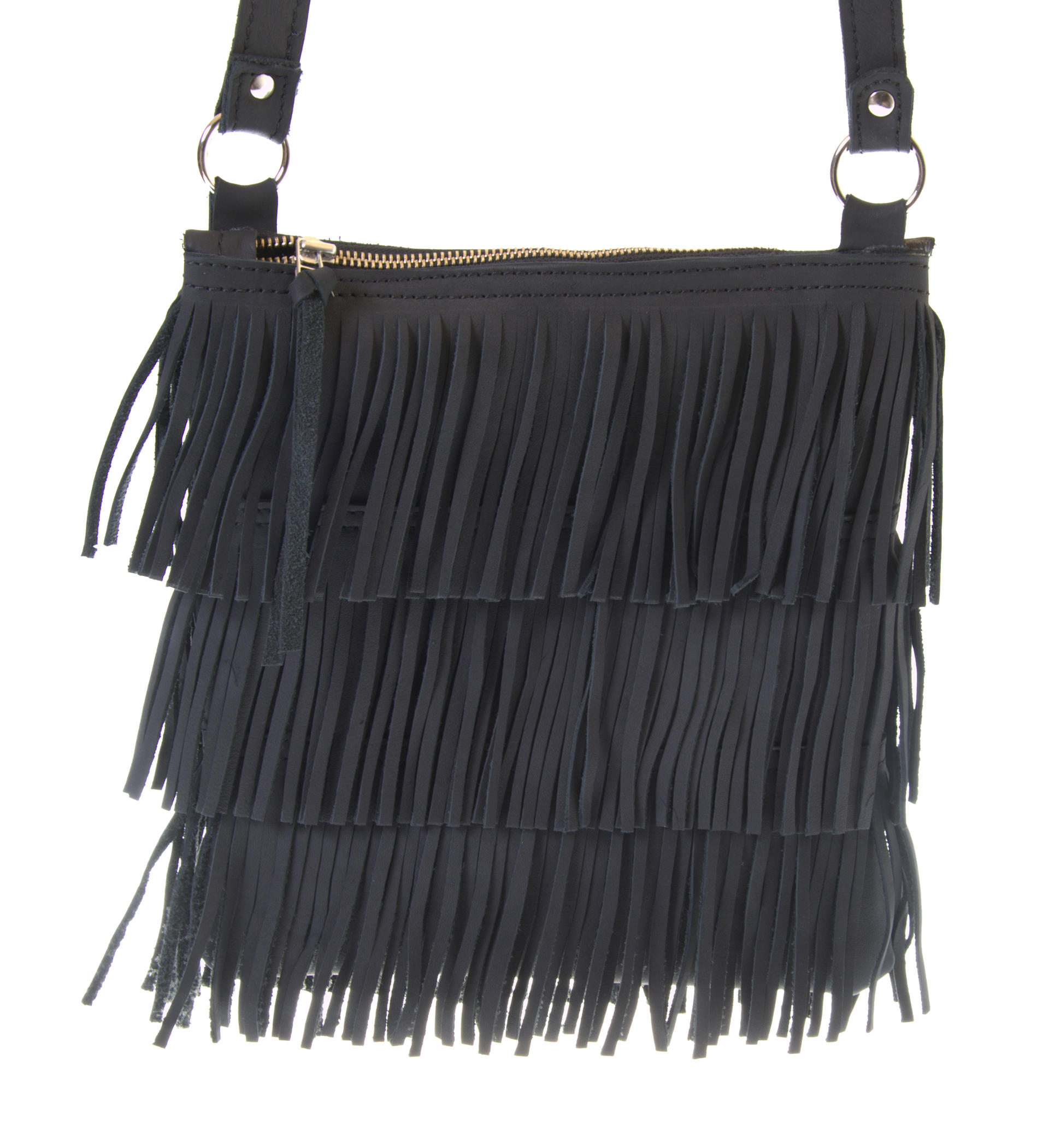 Fringe - Small shoulder bag - Black Colour - Jackal and Hide