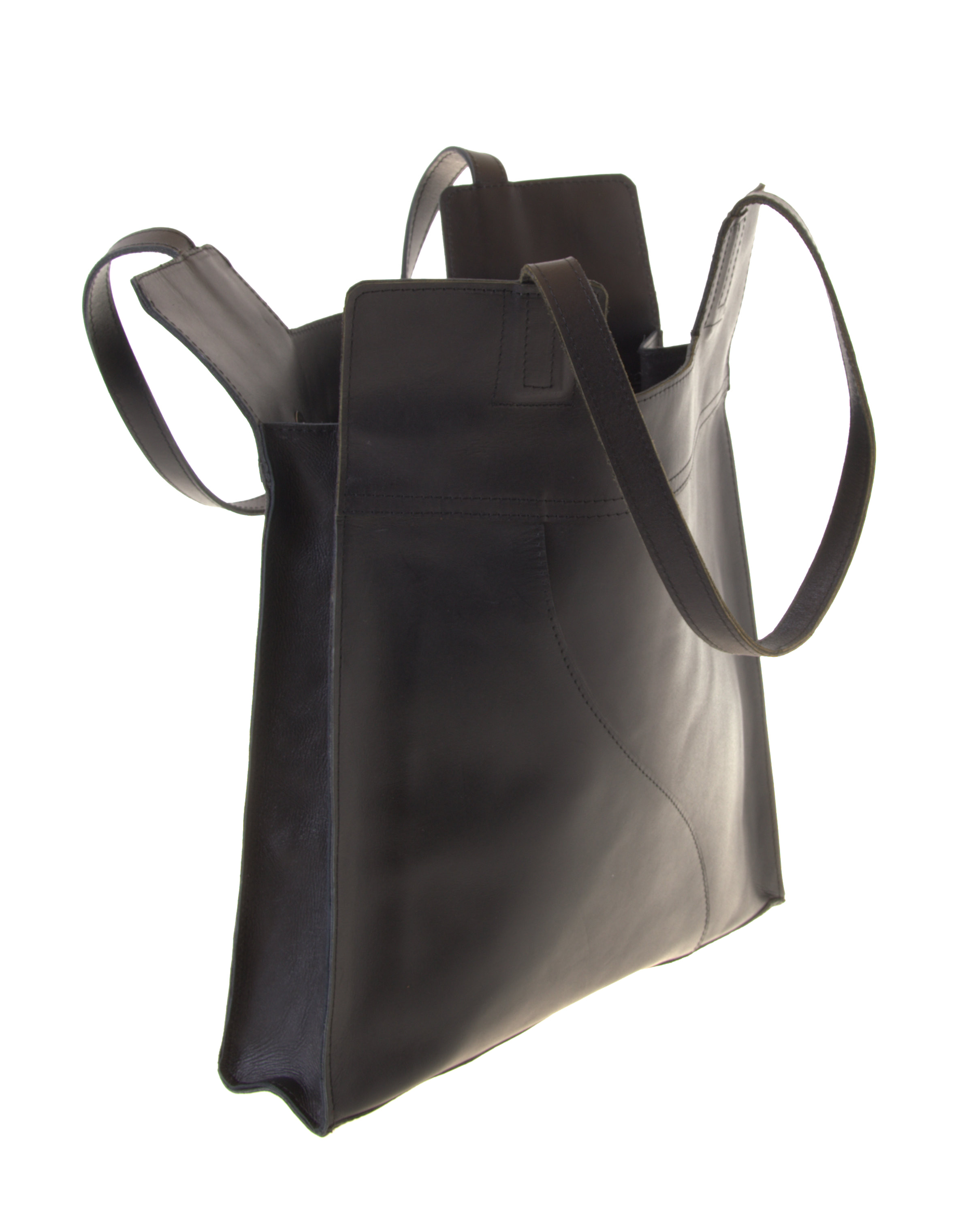 nice black leather shopper from Ethiopia