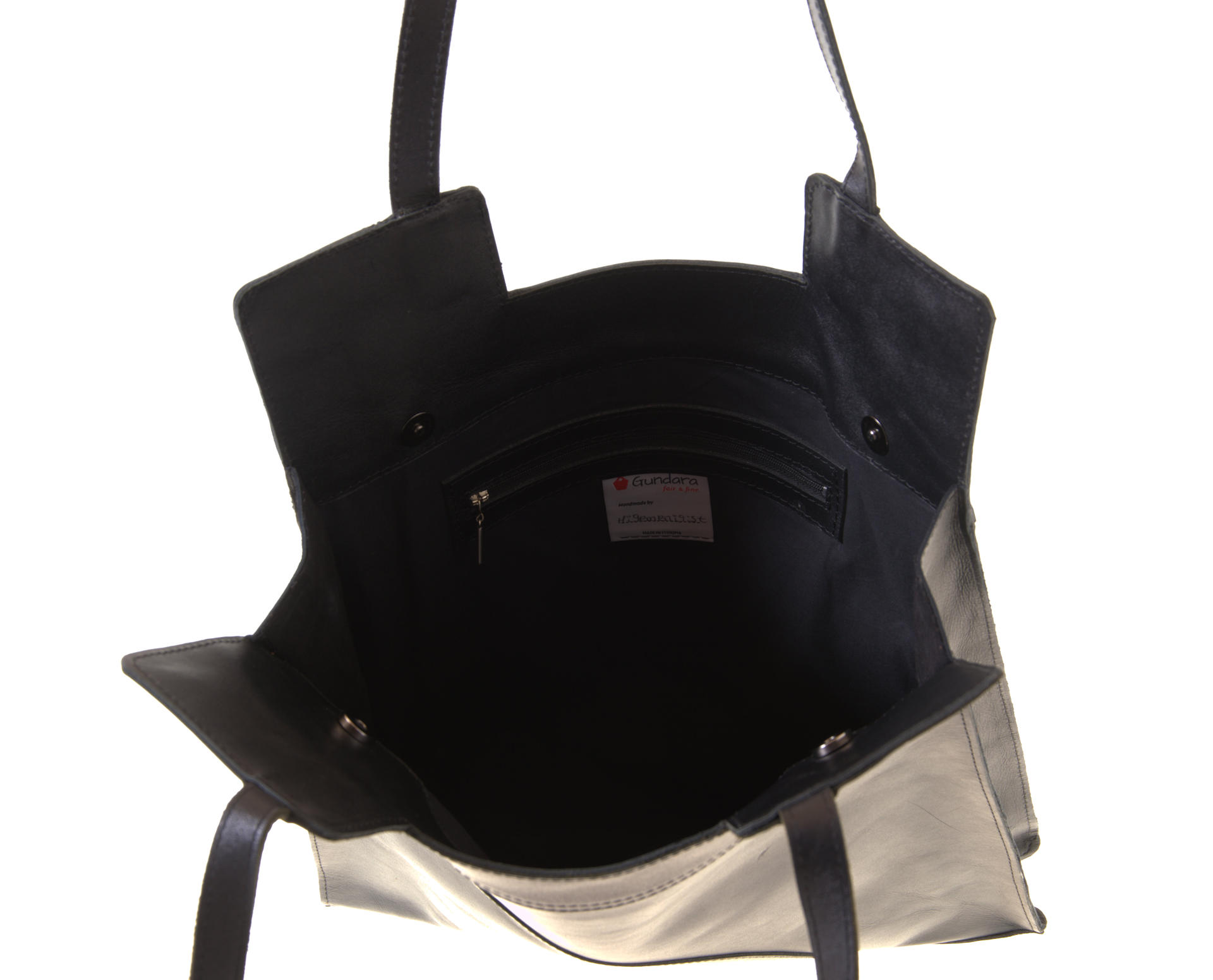 shopper in black leather with lining