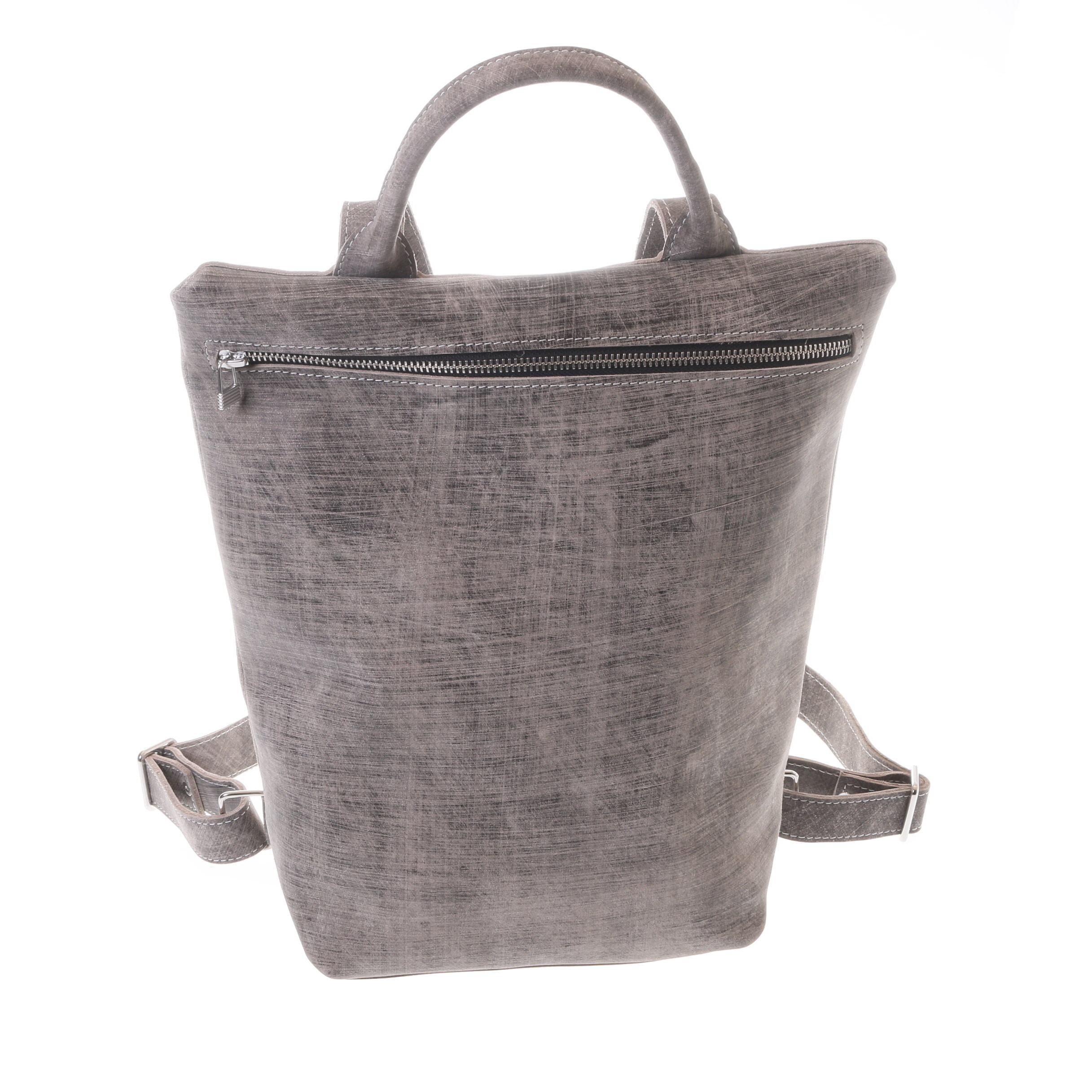 Gundara - grey-scratch leather backpack - handmade in Ethiopia - a fair musthave