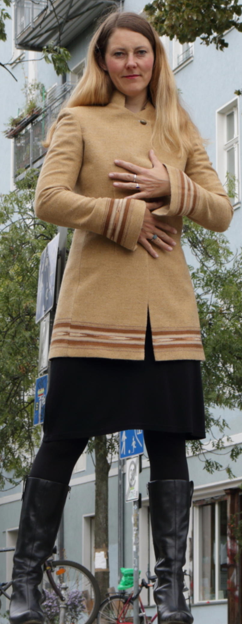 long jacket ade of patu material