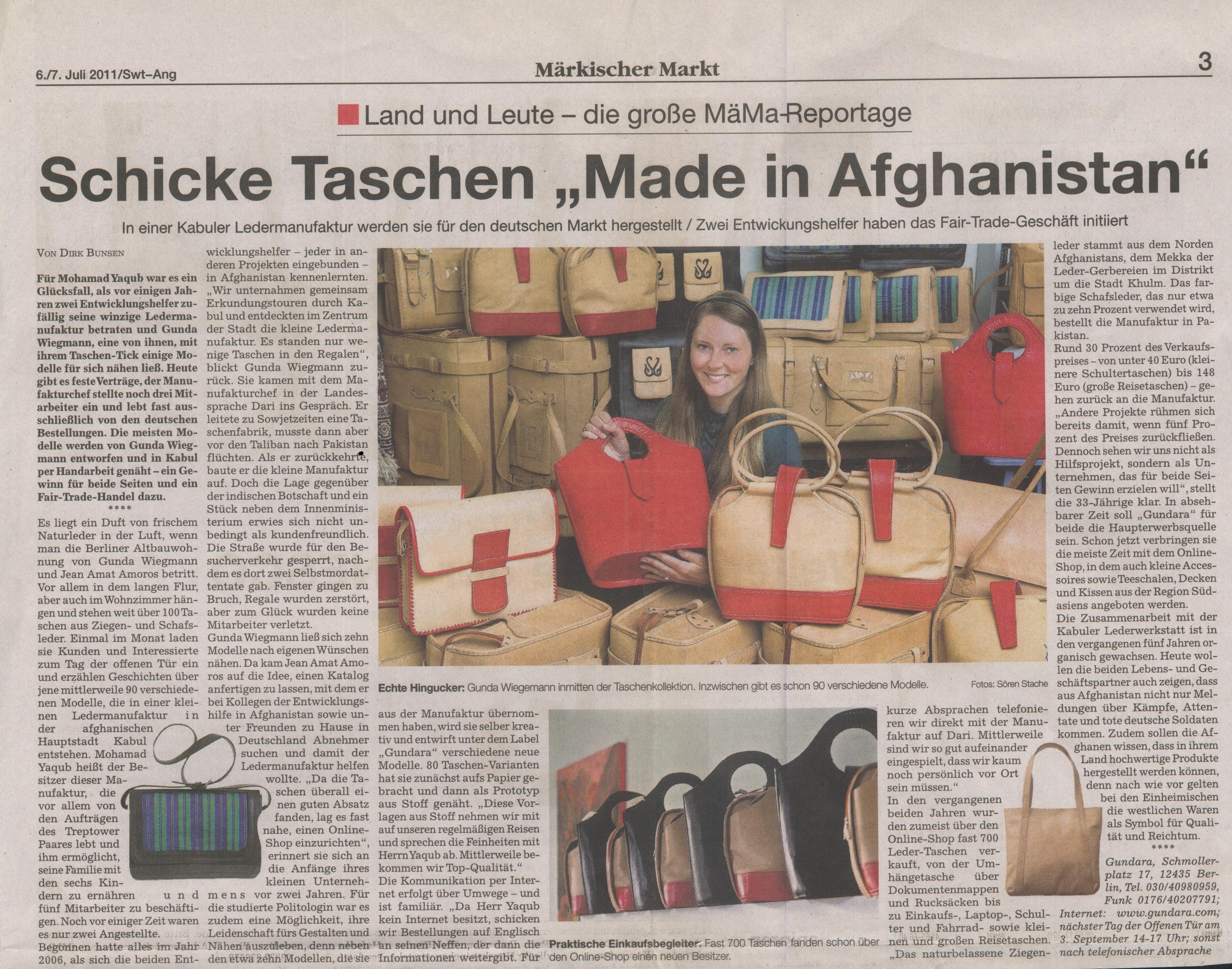 Schicke Taschen Made in Afghanistan