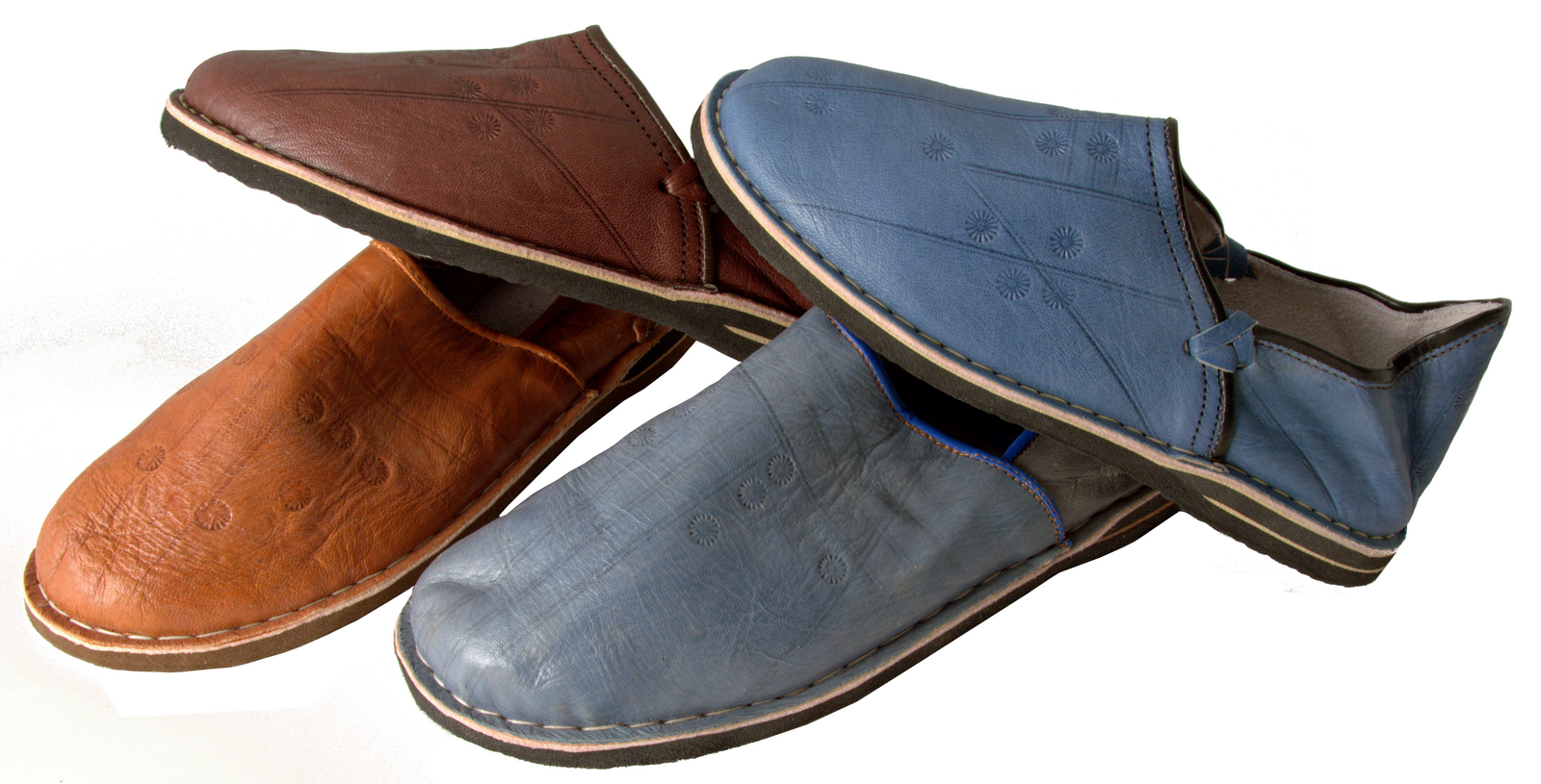 handmade danbira babouches moroccan leather slippers for men in brown or blue gundara. Black Bedroom Furniture Sets. Home Design Ideas