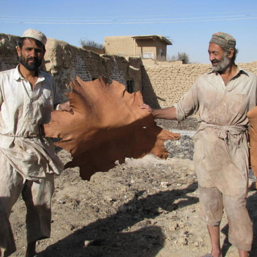 Leather tanning in Khulm, Northern Afghanistan
