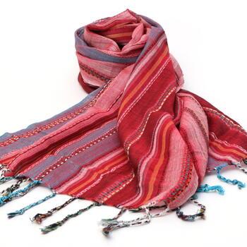 Nepal-Schal-Baumwolle-Rot-Hellblau-Rosa-Gestreift