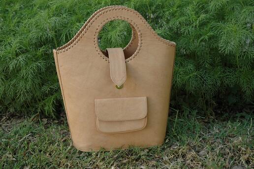 Gundara - Einkaufstasche Natur - Shopping–Tasche aus Echtleder