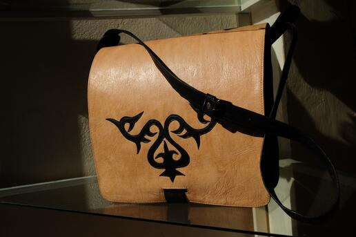 Anwarjan - sac messager pour homme - Motif Kirgize - Cuir naturel et cuir noir