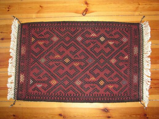 Gundara -Roter Susani - Tachmina - handgemachter afghanischer Woll-Teppich