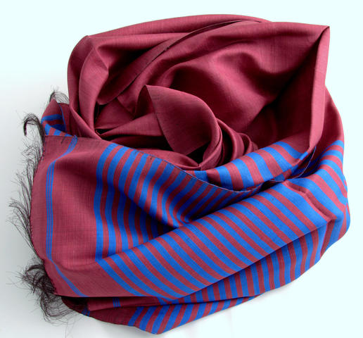 pure silk - handmade scarf - from women's cooperative in Afghanistan - bourdeaux