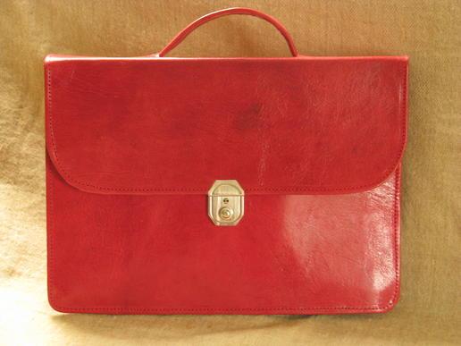 Gundara - genuine leather - briefcase - red - fair trade - Burkina Faso