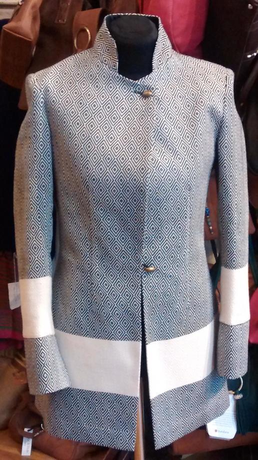 Gundara Design - long jacket - made from a black & white hamam towel