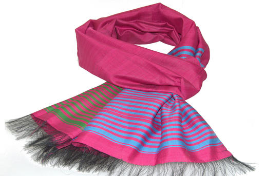 handgewebte Seidenschals aus Afghanistan - 100% Seide - pink, blau & grün - fair & handgemacht
