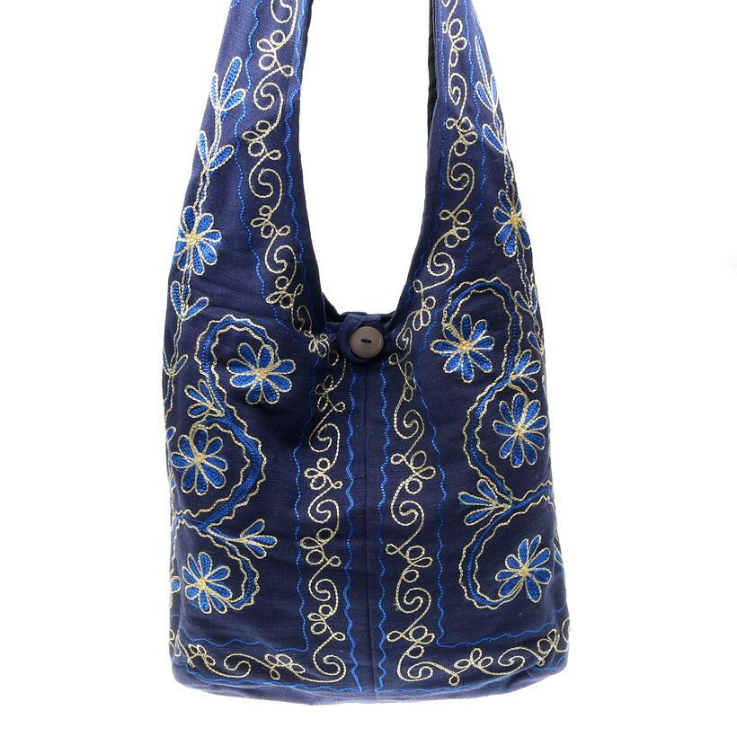embroidered blue lama cotton bag