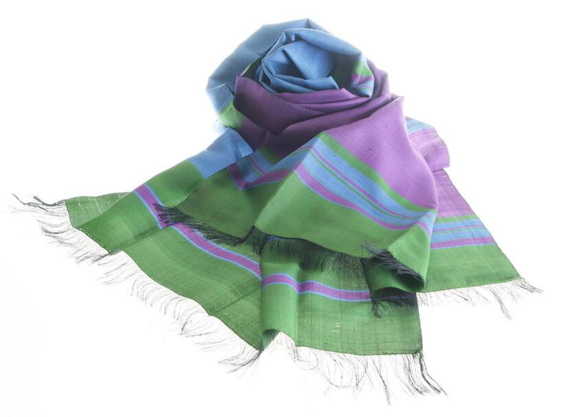 silk scarf blue green purple