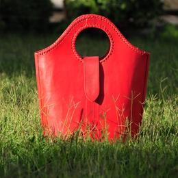Gundara - Einkaufstasche Roter Teufel - roter Leder-Shopper - Echtleder - Handtasche