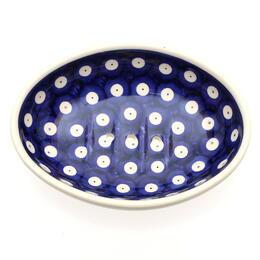 cobalt blue soap dish from Boleslawiec, Poland