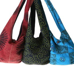 printed lama bags from Nepal cooperative local women's handicraft