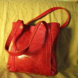 sac artisanal fait a Ougadougou - cuir de chevre rouge