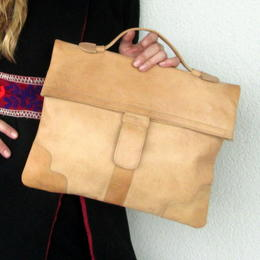 Große Vintage Echtleder Handtasche - Gundara - chromfrei