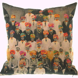 Neeru Kumar cushion cover with colourful turbans