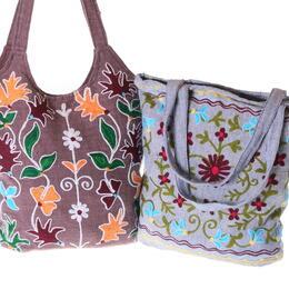 sac de courses en cotton brodé coopérative Local Women's Handicraft au Nepal