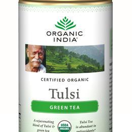 organic india tulsi green tea 100g tin