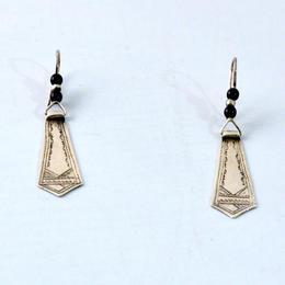 Traditionelle handgemachte Tuareg Silber Ohrringe - mit Onyx - Gundara