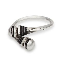 silver and ebony ring