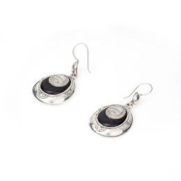 nice tuareg design onix and silver earrings