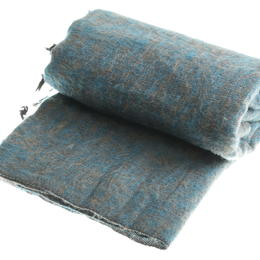 blue brown mixed yarns plaid from Nepal women cooperative