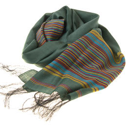 Green Silk cotton Scarf with colourful stripes