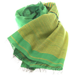 Light green yellow cotton silk scarf handwoven in Afghanistan