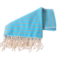 Turquoise and orange towel