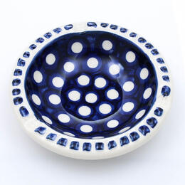 round ceramic ashtray from Boleslawiec in cobalt blue and white