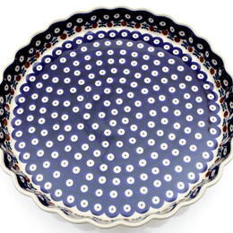 round and fluted quiche dish from Boleslawiec, Poland