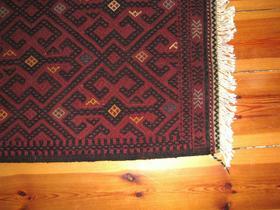 Afghan Red Turkmen hand-stitched Rug - Gundara