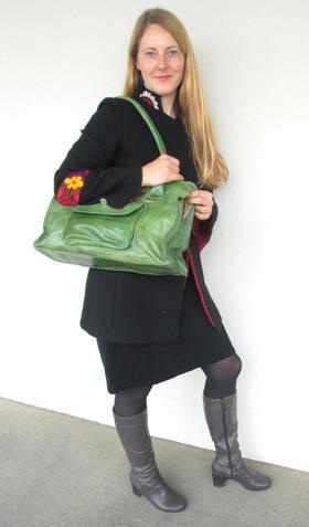 Grüne Leder-Handtasche aus Burkina Faso