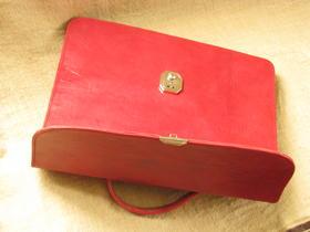Gundara - briefcase Mariam - red leather - Burkina Faso - funky - handmade
