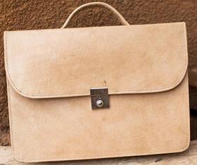 Gundara - genuine leather - briefcase Ousmane - fair trade - Burkina Faso - natural leather
