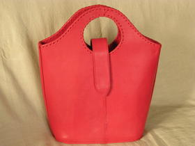 Gundara - Real Leather Shopper - Raspberry - fine sheep leather in pink