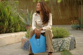 sac à main en cuir bleu véritable - Gundara