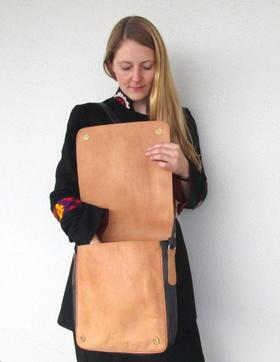sac travers en cuir naturel