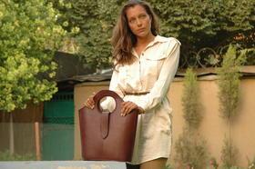 sac artisanal en cuir marron fait main - Gundara