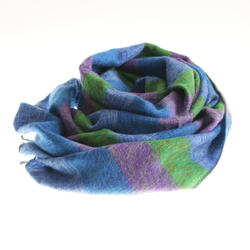 Blue violet green striped yak shawl from Nepal women cooperative LWH
