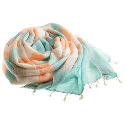 Beige brown turquoise orange yak shawl from Nepal women cooperative LWH