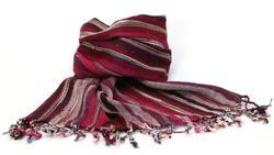 Burgund-Rot-Gestreifter Nepal Schal aus Baumwolle