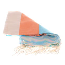 Colourful blue and orange cotton beach towel