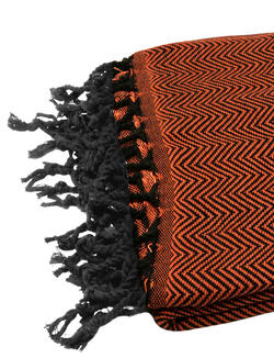 Orange Hammamtowel Black Zigzag