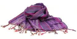 Lila-Flieder-Streifen Nepal Schal aus Baumwolle